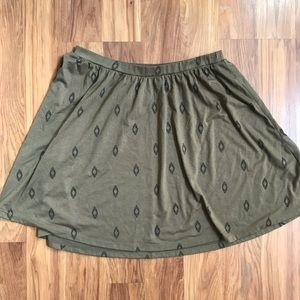 Green Patterned Old Navy Circle / Swing Skirt